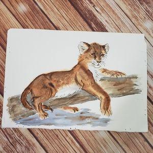 Original Art Watercolour Young Cougar Vintage